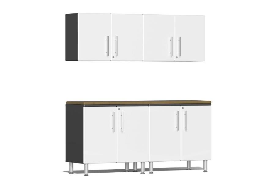 Ulti-MATE Garage 2.0 5-PC Kit w/Wall Cabinets - Stardust White Metallic