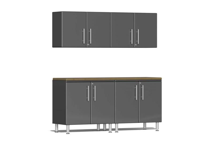 Ulti-MATE Garage 2.0 5-PC Kit w/Wall Cabinets - Graphite Gray Metallic