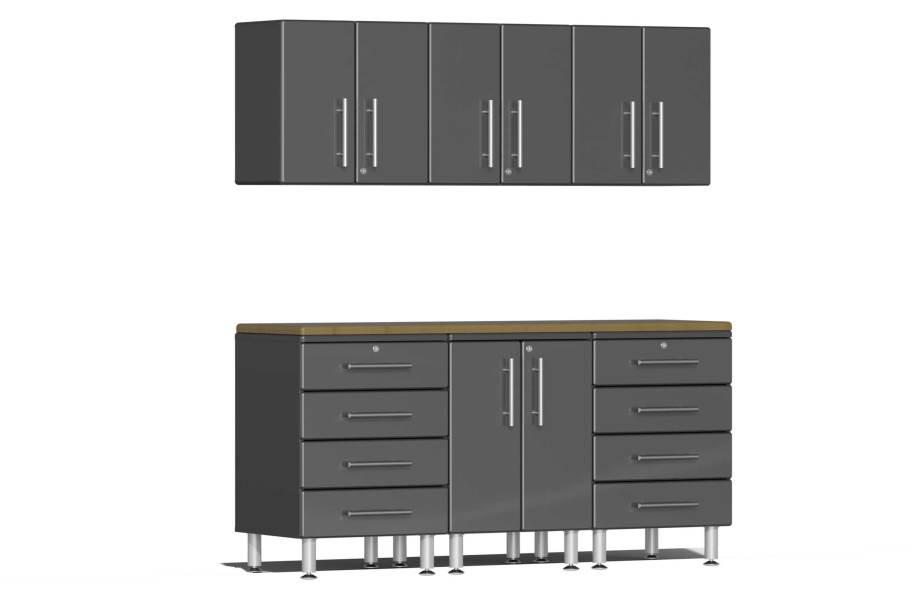 Ulti-MATE Garage 2.0 7-PC Kit w/Wall Cabinets - Graphite Gray Metallic