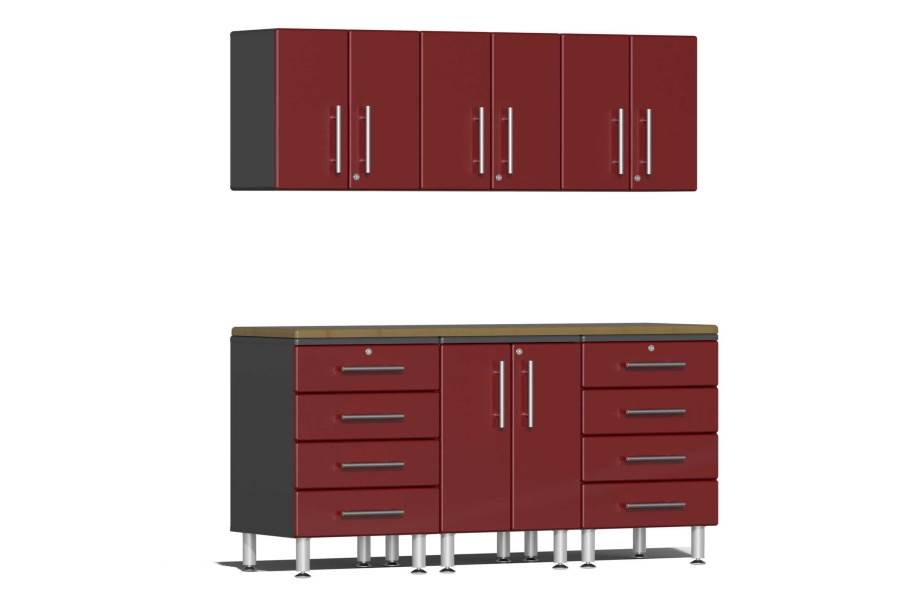 Ulti-MATE Garage 2.0 7-PC Kit w/Wall Cabinets - Ruby Red Metallic