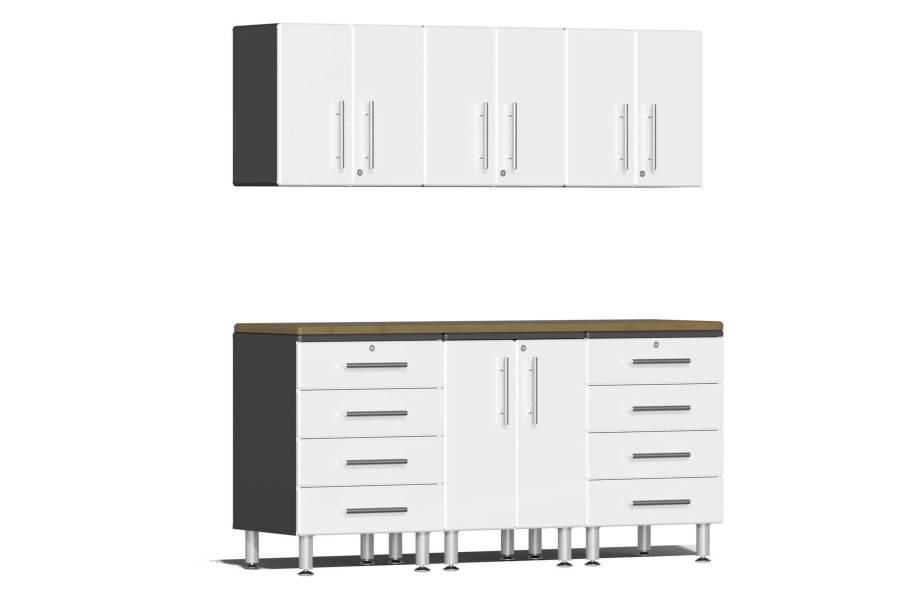 Ulti-MATE Garage 2.0 7-PC Kit w/Wall Cabinets - Starfire White Metallic