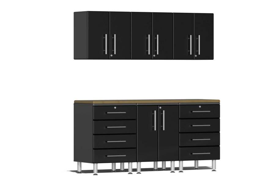 Ulti-MATE Garage 2.0 7-PC Kit w/Wall Cabinets - Midnight Black Metallic