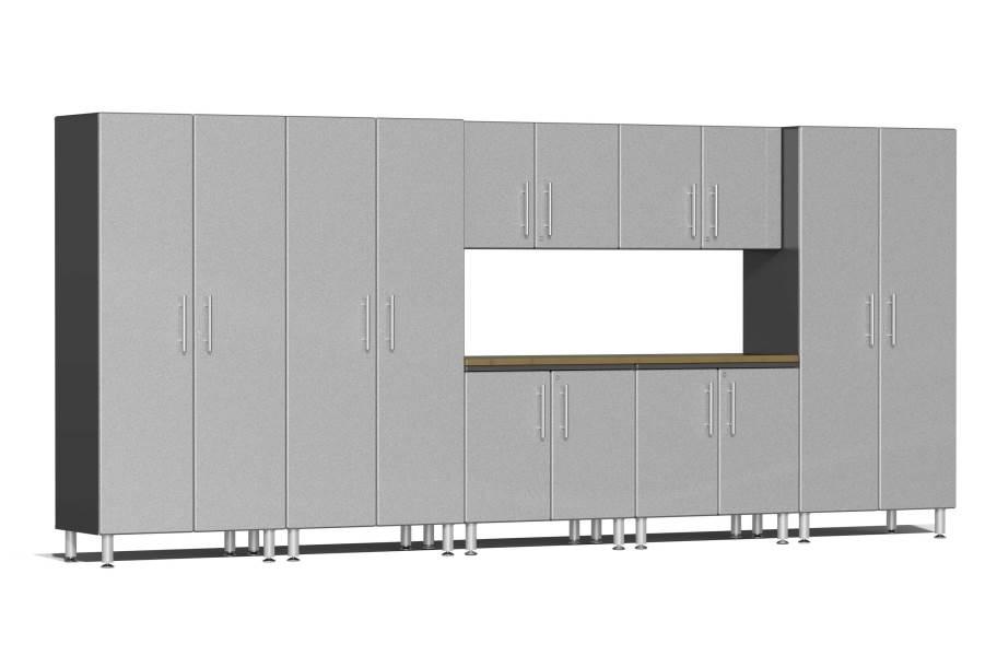 Ulti-MATE Garage 2.0 8-PC XL Kit w/ Bamboo Worktop - Stardust Silver Metallic