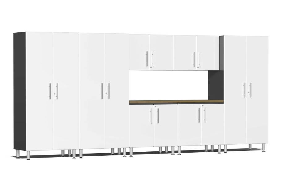 Ulti-MATE Garage 2.0 8-PC XL Kit w/ Bamboo Worktop - Starfire White Metallic