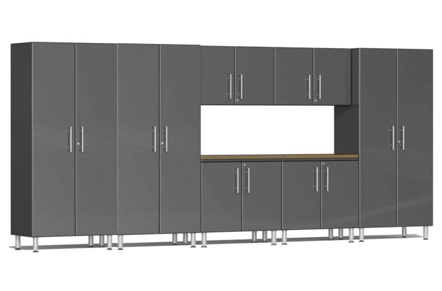 Ulti-MATE Garage 2.0 8-PC XL Kit w/ Bamboo Worktop - Graphite Gray Metallic