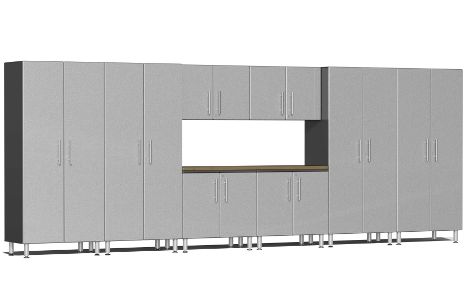 Ulti-MATE Garage 2.0 9-PC XL Kit w/ Bamboo Worktop - Stardust Silver Metallic