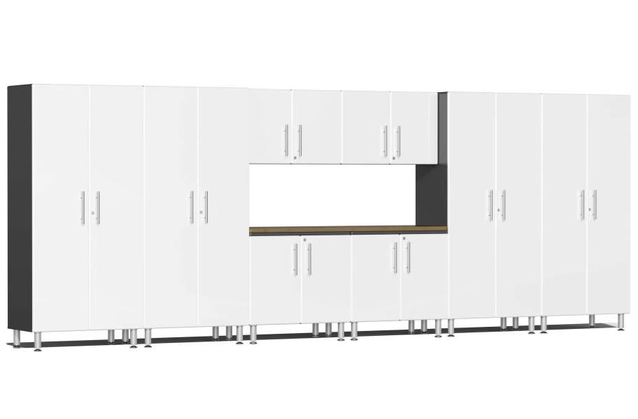 Ulti-MATE Garage 2.0 9-PC XL Kit w/ Bamboo Worktop - Starfire White Metallic