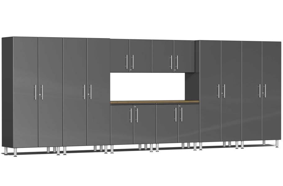 Ulti-MATE Garage 2.0 9-PC XL Kit w/ Bamboo Worktop - Graphite Gray Metallic