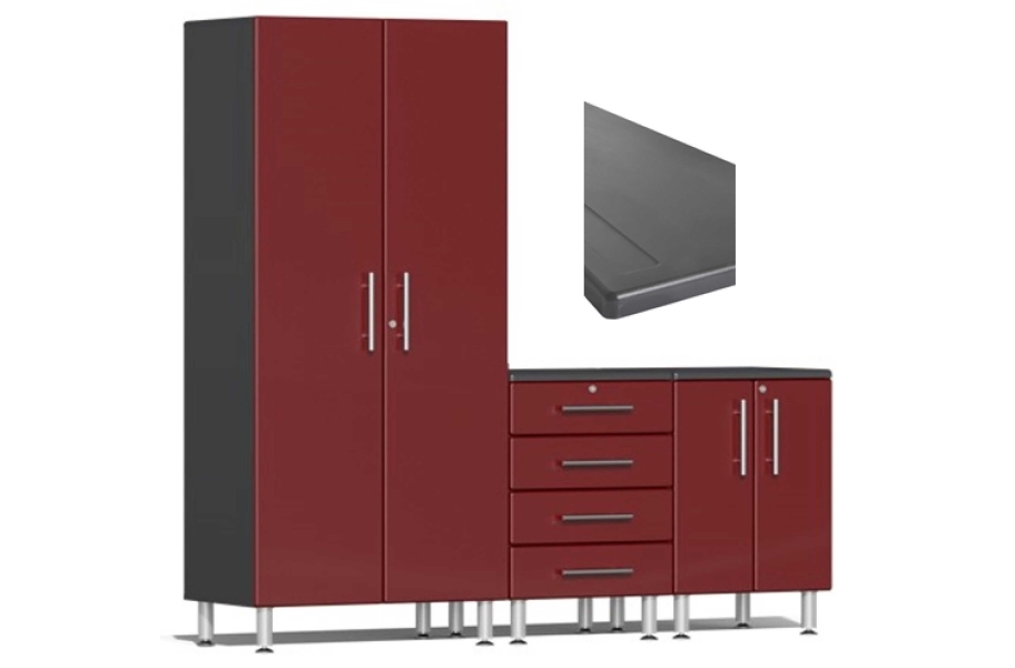 Ulti-MATE Garage 2.0 4-PC Kit w/ Channeled Worktop - Ruby Red Metallic
