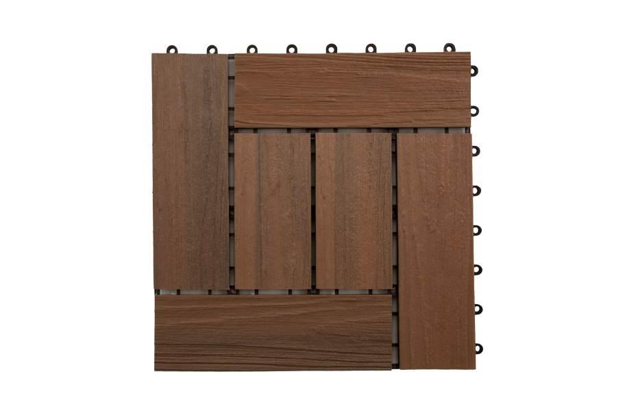 Helios Composite Deck Board Tiles (6 Slat) - Brazilian Brown