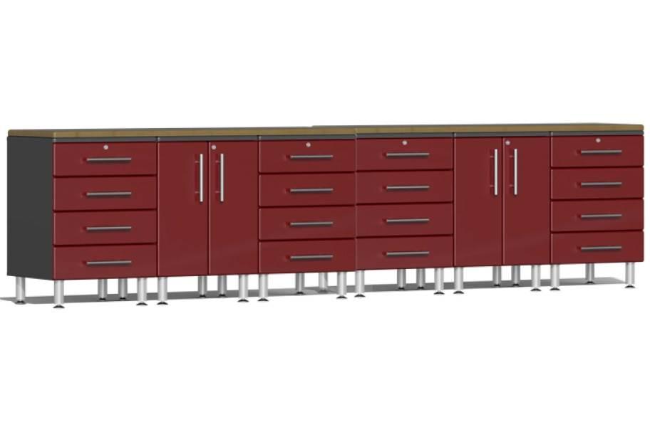 Ulti-MATE Garage 2.0 8-PC Workstation Set - Combo  - Ruby Red Metallic