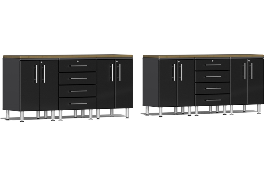 Ulti-MATE Garage 2.0 8-PC Workstation Set - Combo  - Midnight Black Metallic
