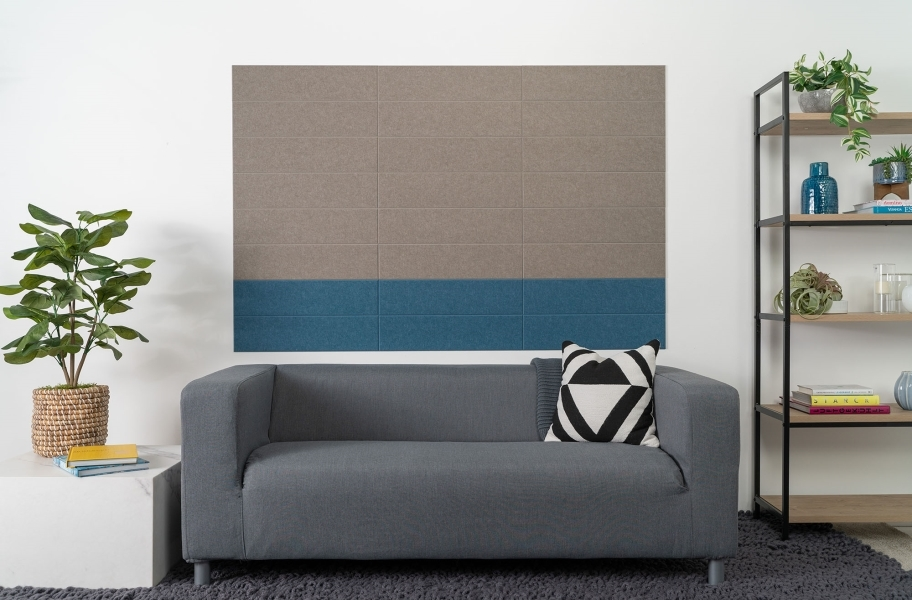 Felt Right Shiplap Acoustic Wall Tiles - Stacked Ash and Blue