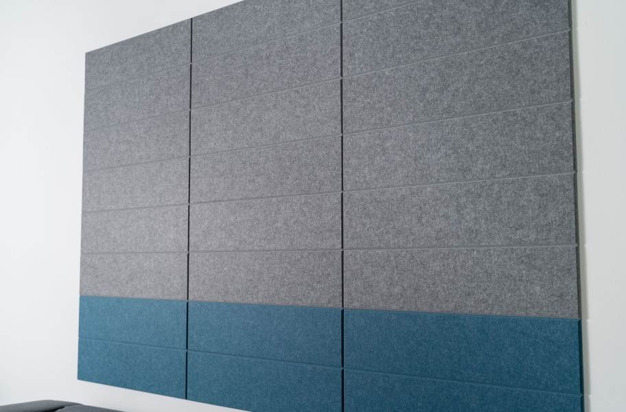 Felt Right Shiplap Acoustic Wall Tiles - Stacked Slate and Blue