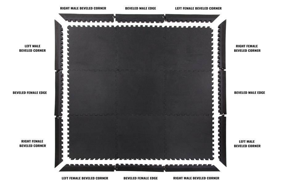 """7/8"""" Judo Mats - Black/Gray"""