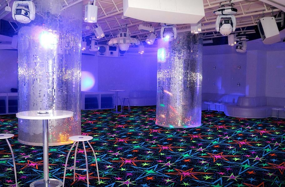 Joy Carpets Neon Lights Big Bang Tile - Under black light