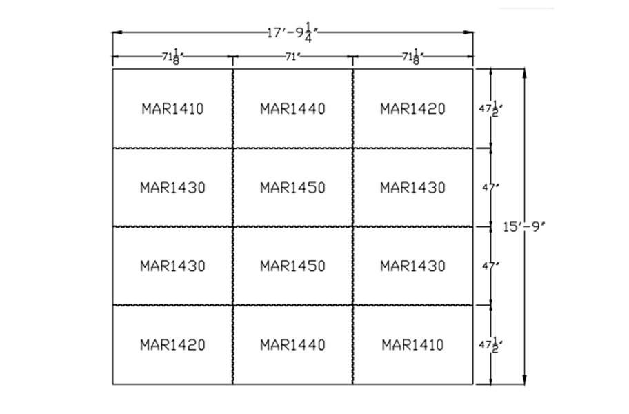 """3/4"""" Diamond Top Horse Mat Kits - 16' x 18' Kit"""