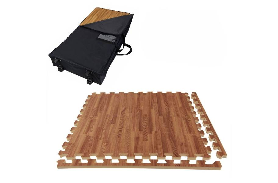 Premium Soft Wood Trade Show Kits - Wheeled Soft Case w/ 25 Tiles