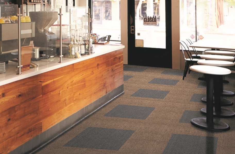 Impressions Carpet Tiles - Chestnut and Black