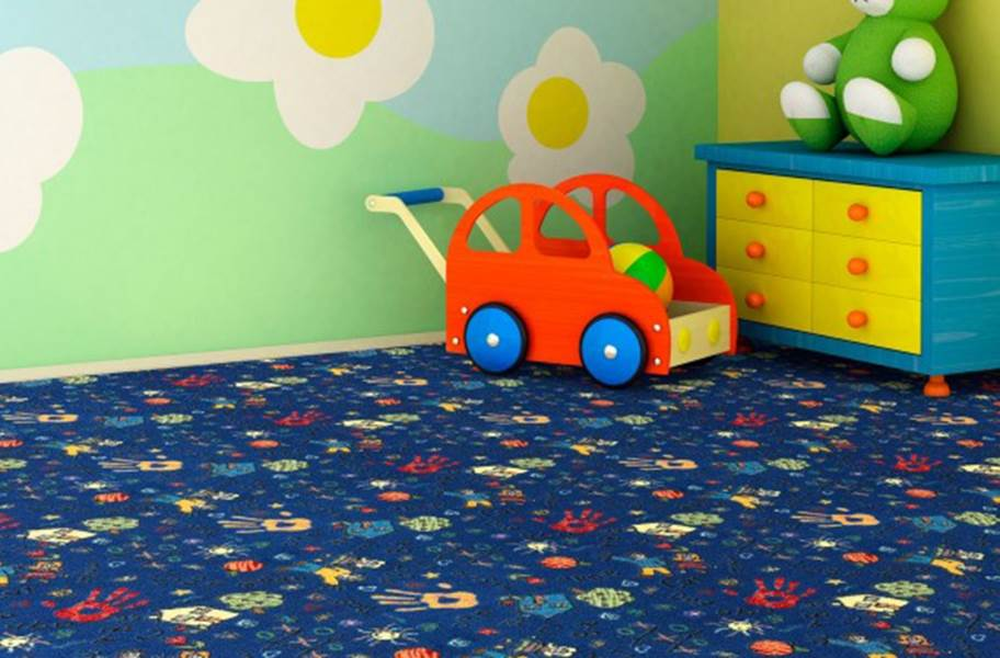 Joy Carpets Scribbles Carpet - Blue