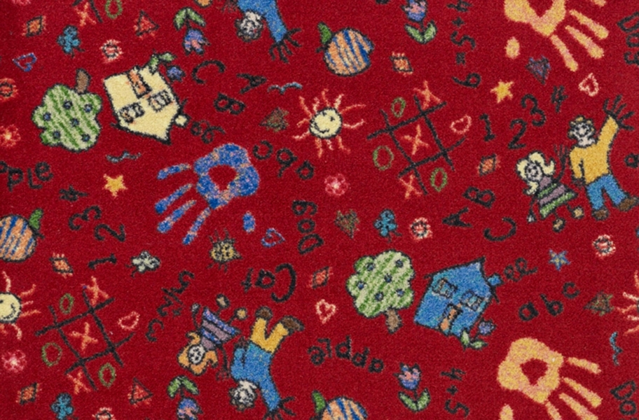 Joy Carpets Scribbles Carpet - Red