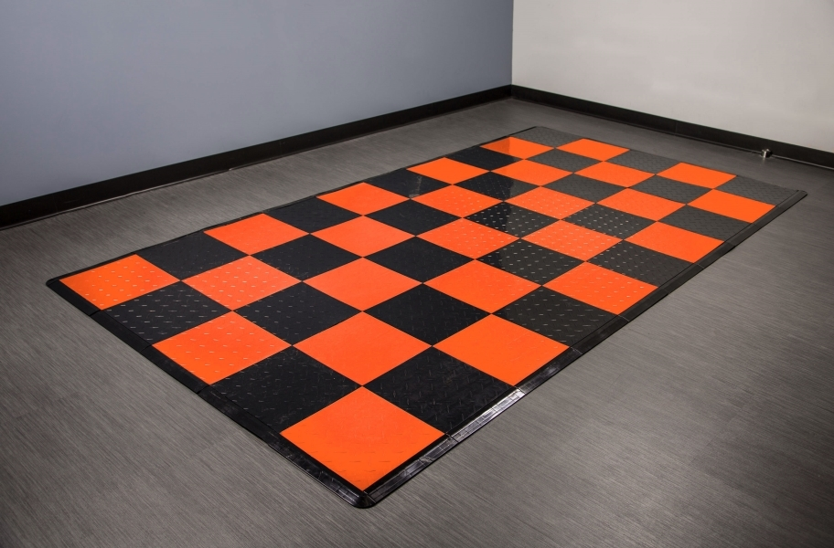 Diamond Nitro Tile - Motorcycle Mats - Black & Harley Orange