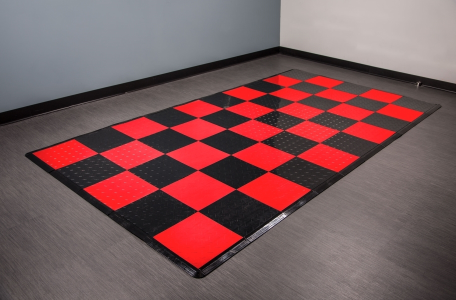 Diamond Nitro Tile - Motorcycle Mats - Black & Victory Red