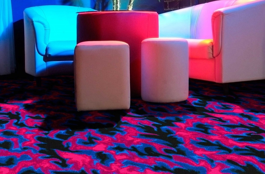 Joy Carpets Neon Lights Carpet - Inferno - Under Fluorescent Lighting