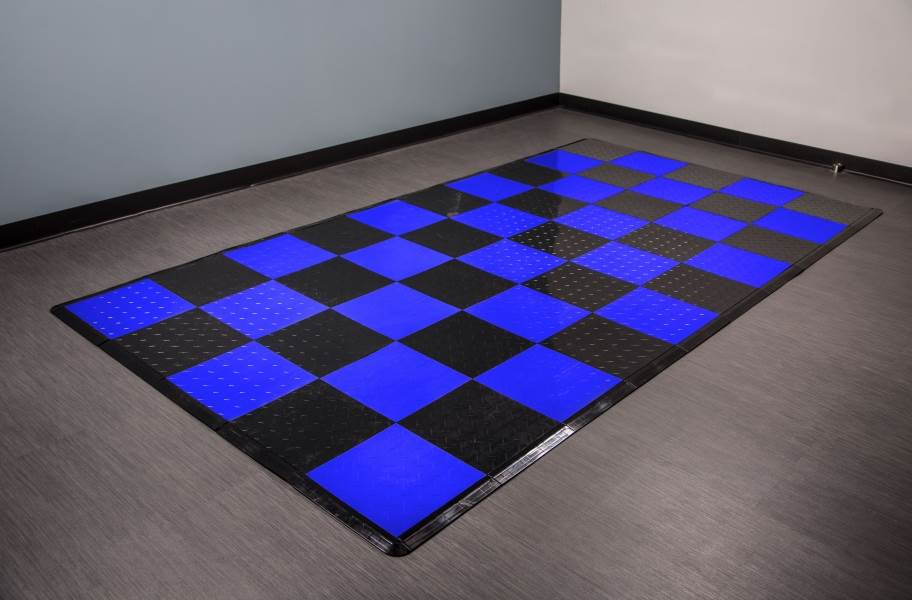 Diamond Nitro Tile - Motorcycle Mats - Black & Shelby Blue