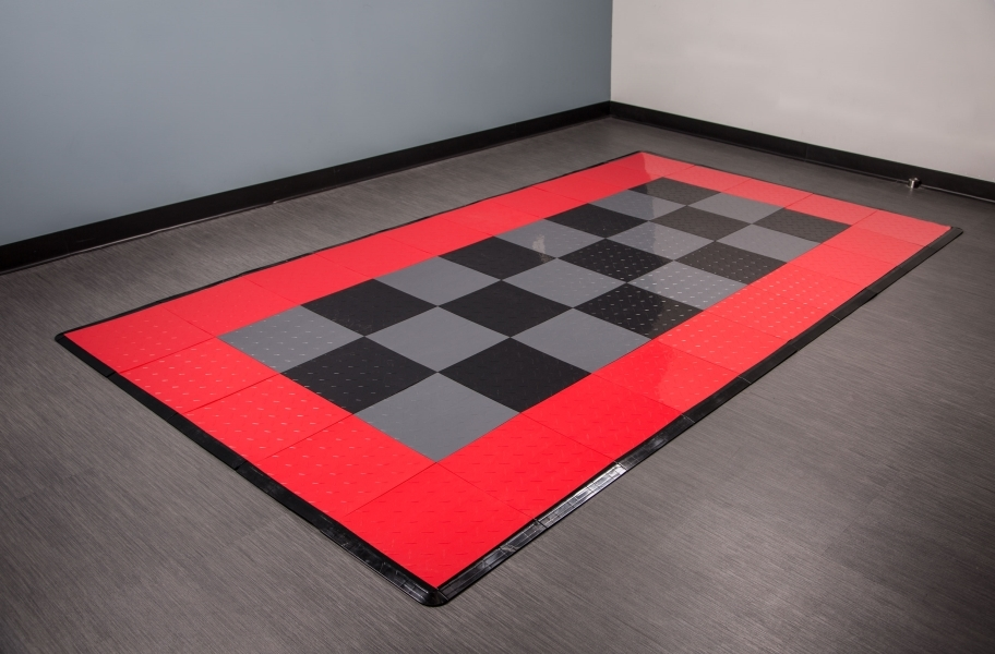 Diamond Nitro Tile - Motorcycle Mats - Black, Graphite & Victory Red