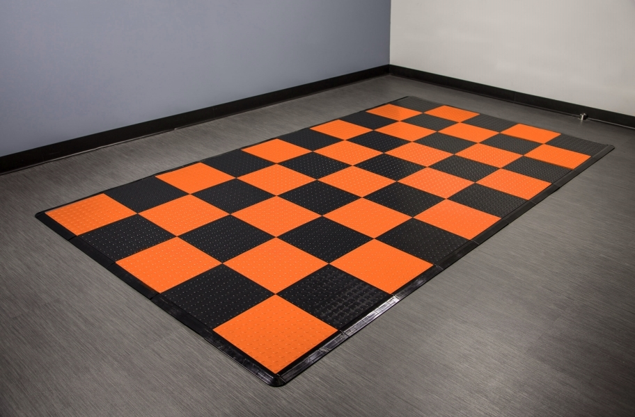 Coin Nitro Tile - Motorcycle Mats - Orange & Black