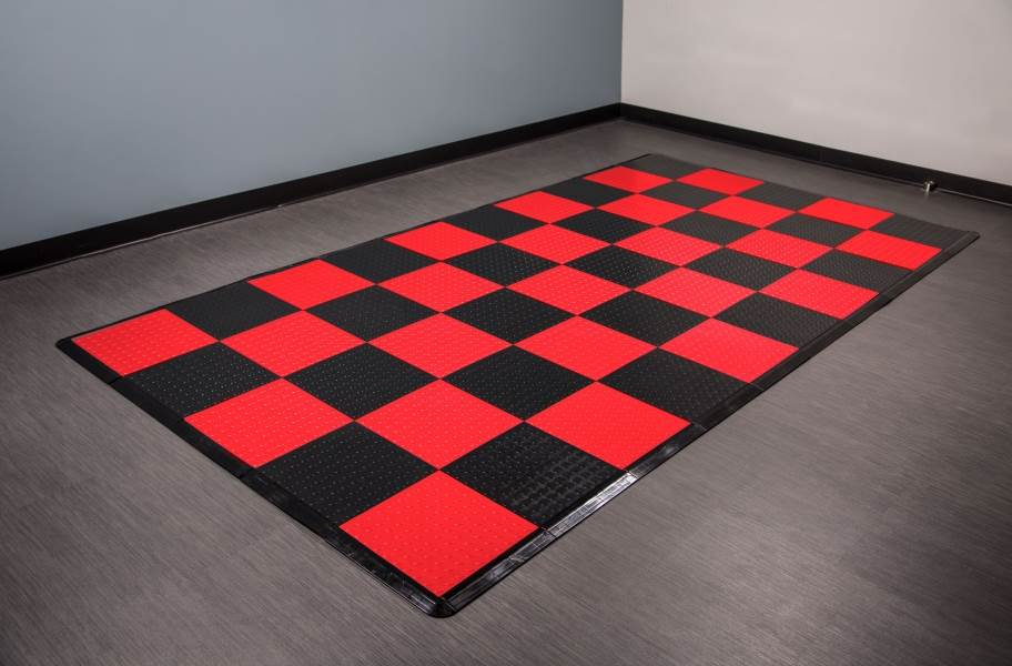 Coin Nitro Tile - Motorcycle Mats - Black & Red