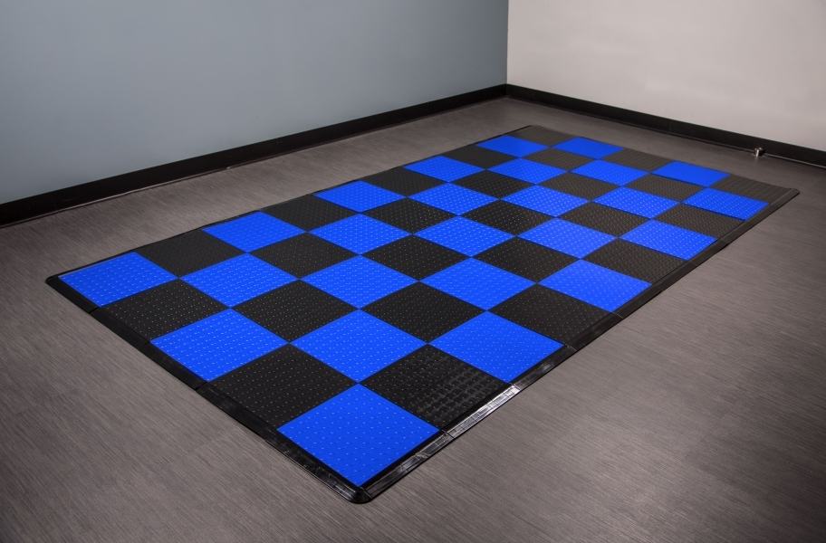 Coin Nitro Tile - Motorcycle Mats - Blue & Black