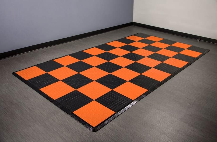 Coin Nitro Tile - Motorcycle Mats - Orange & Black
