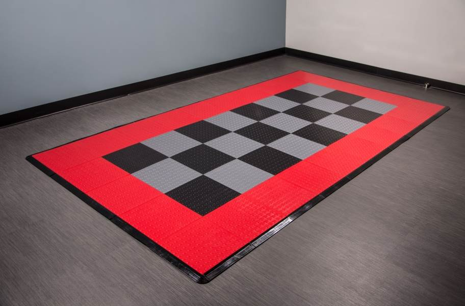 Coin Nitro Tile - Motorcycle Mats - Black, Graphite & Red