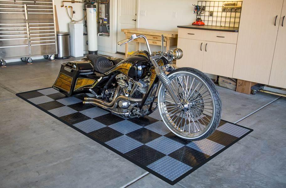Coin Nitro Tile - Motorcycle Mats - Black & Graphite