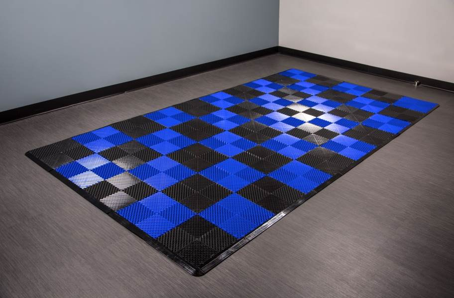 Vented Nitro Tile - Motorcycle Mats - Black / Shelby Blue