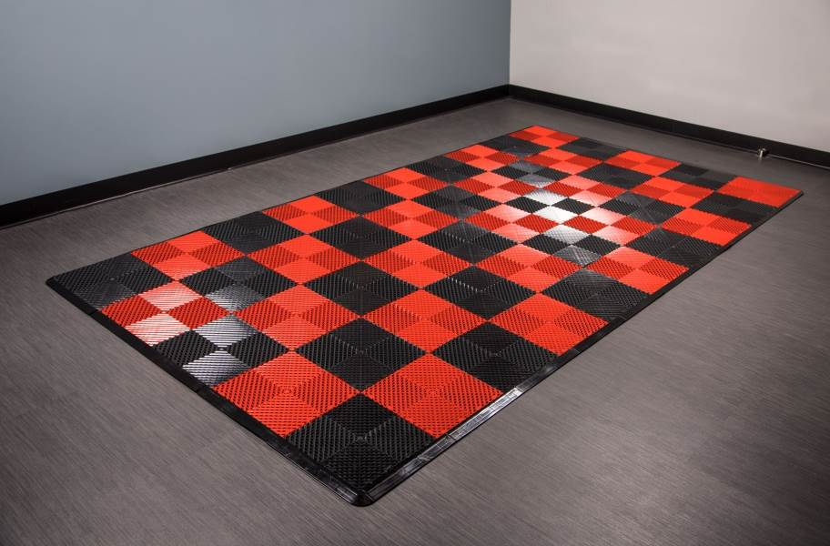 Vented Nitro Tile - Motorcycle Mats - Black / Victory Red