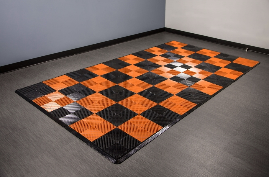 Vented Nitro Tile - Motorcycle Mats - Black / Harley Orange