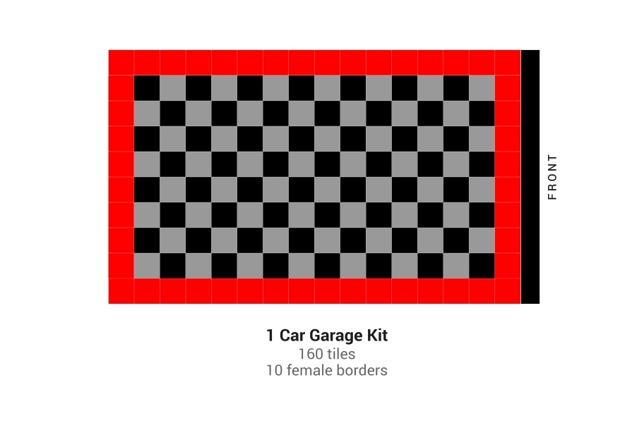 Nitro Tile Car Pad Kits - Black/Graphite/Victory Red
