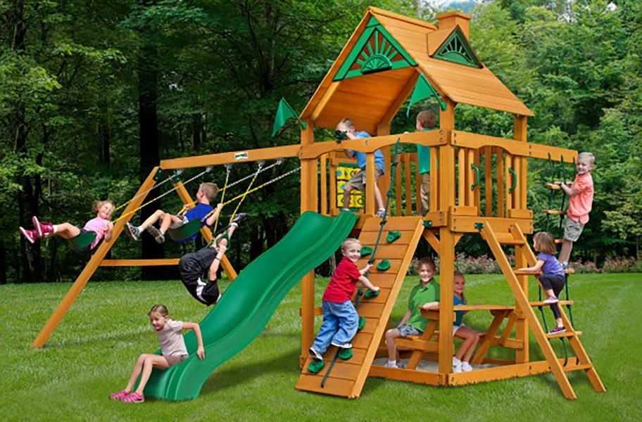 Chateau Swing Set - Chateau Swing Set Treehouse with Fort add-on