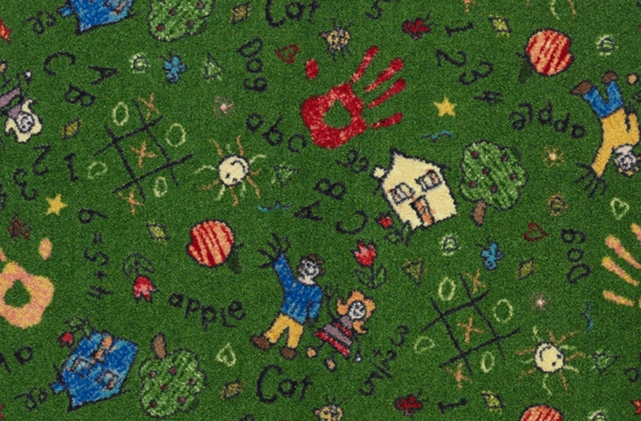Joy Carpets Scribbles Carpet - Green