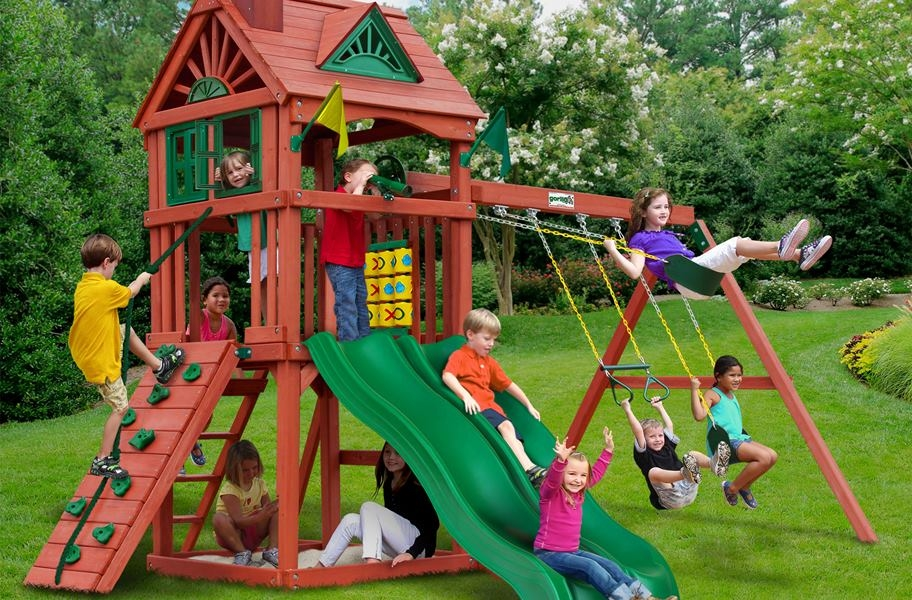Double Down Wooden Swing Set