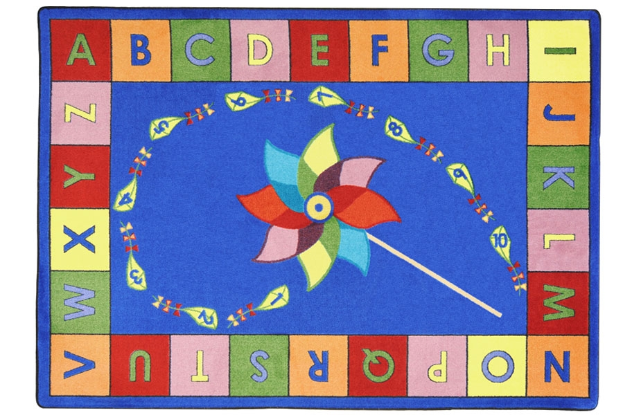 Joy Carpets Alphabet Pinwheel Kids Rug
