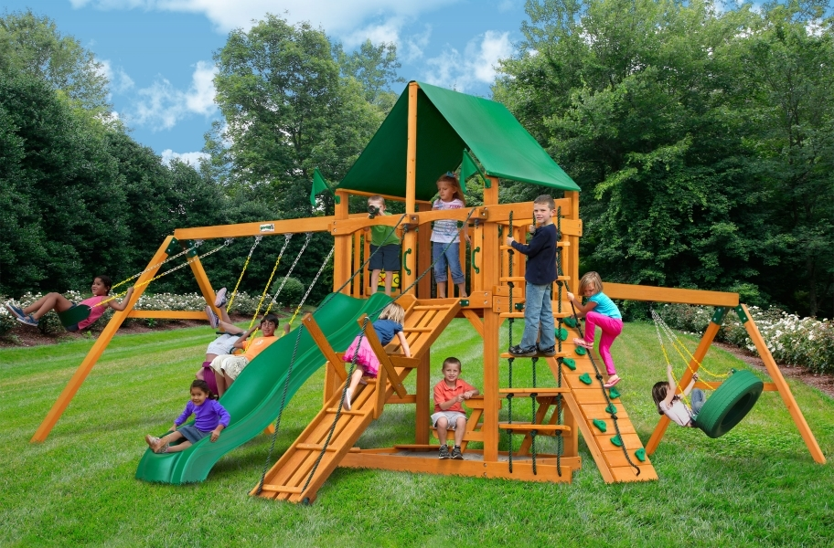Frontier Playset - Frontier Playset with Canvas Forest Green Canopy