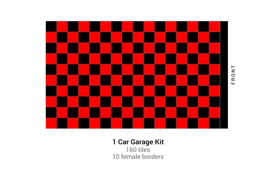 Nitro Tile Car Pad Kits - Black/Victory Red Checker
